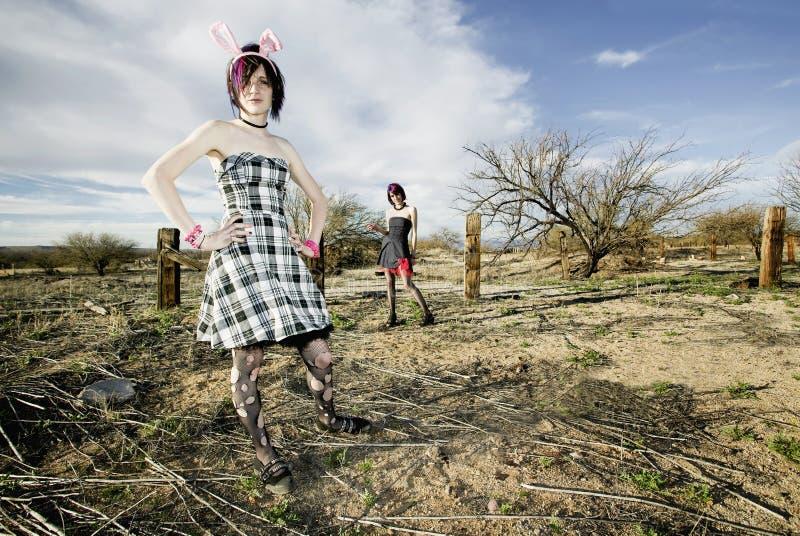 Anti-Fashion Girls. Two punk girls posing in a rural setting stock photo
