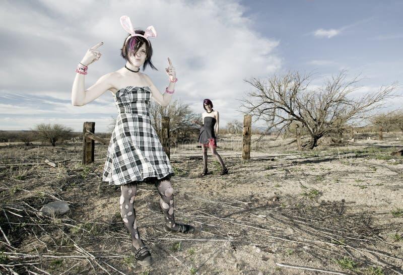 Anti-Fashion Girls. Two punk girls posing in a rural setting royalty free stock photo