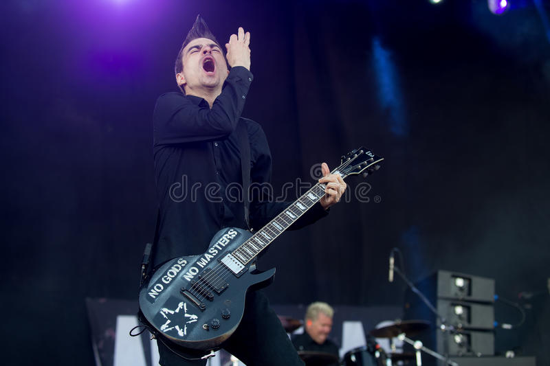 Anti-flag. Singer and guitarist Justin Sane of Anti-flag during performance at festival Rock for People in Hradec Kralove, Czech republic, July 5, 2016 stock photo