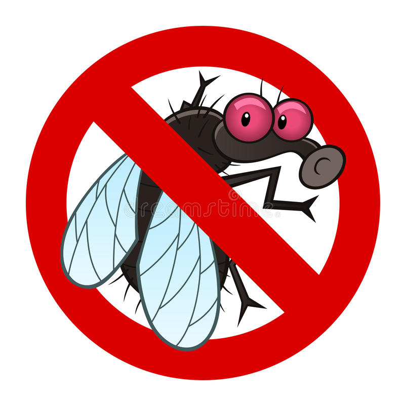 Anti fly sign. Anti pest sign with a funny cartoon fly stock illustration