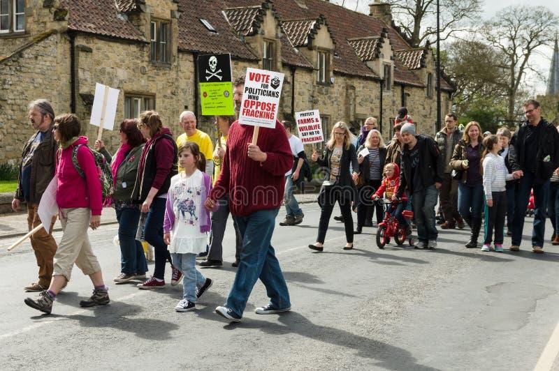 Anti--Fracking März - Malton - Ryedale - Nord-Yortkshire - Großbritannien stockfoto