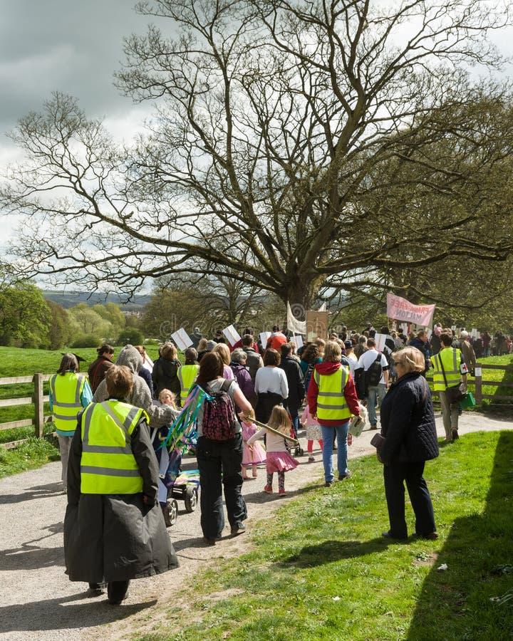 Anti--Fracking März - Malton - Ryedale - Nord-Yortkshire - Großbritannien lizenzfreies stockbild