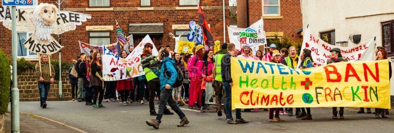 Anti-fracking march through Harthill,  Yorkshire, U.K. royalty free stock images