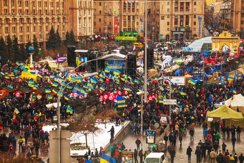 Anti-gouvernementele protesten in Kiev, de Oekraïne stock afbeelding