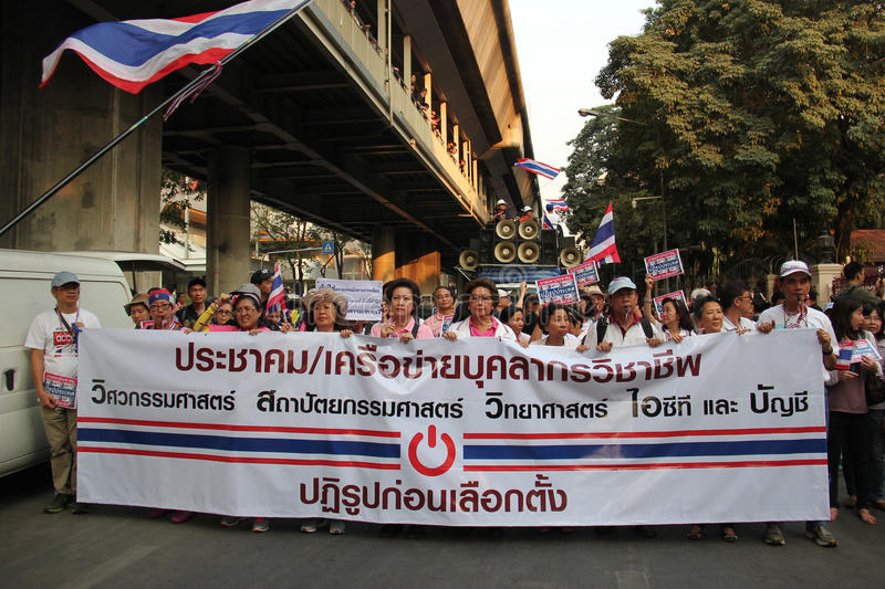 Anti-Government Protest. Bangkok, Thailand - January 1, 2014: White Collar Group gather together to protest against the government and promote campaign of royalty free stock photos