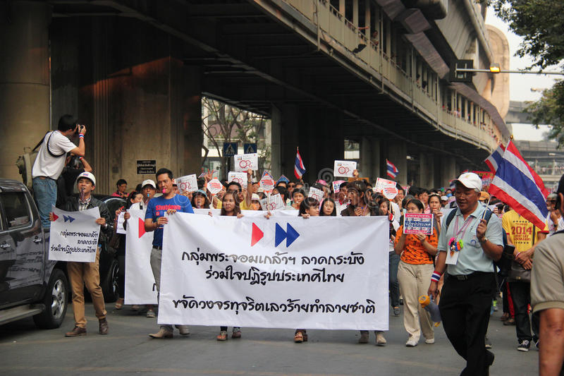Anti-Government Protest. Bangkok, Thailand - January 1, 2014: White Collar Group gather together to protest against the government and promote campaign of royalty free stock photo