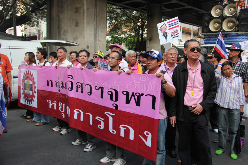 Anti-Government Protest. Bangkok, Thailand - January 1, 2014: White Collar Group gather together to protest against the government and promote campaign of stock image
