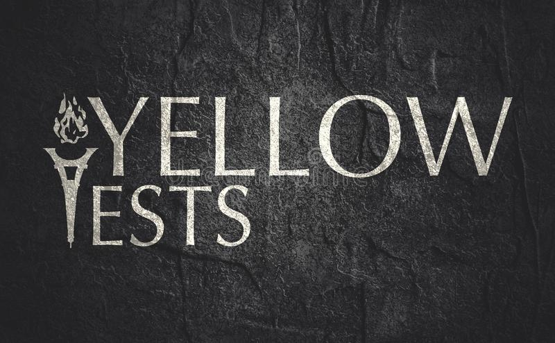 Yellow vests text. Anti government protest in France name. Yellow vests royalty free stock image