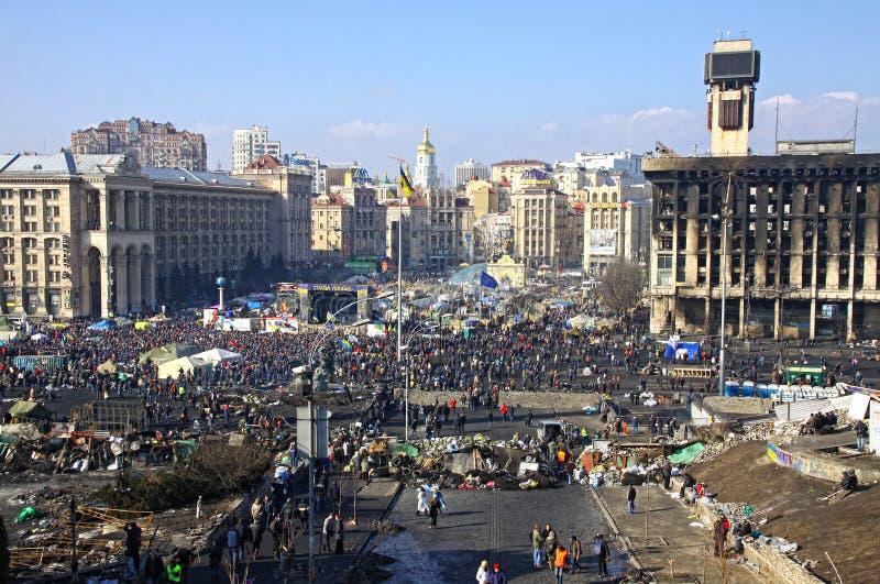 Anti-government protesten in Kyiv, de Oekraïne stock afbeelding