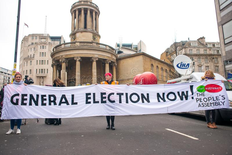 Anti government protesters at the Britain Is Broken / General Election Now demonstration in London. London, UK. 12th January 2019. Anti-Government protesters stock photo