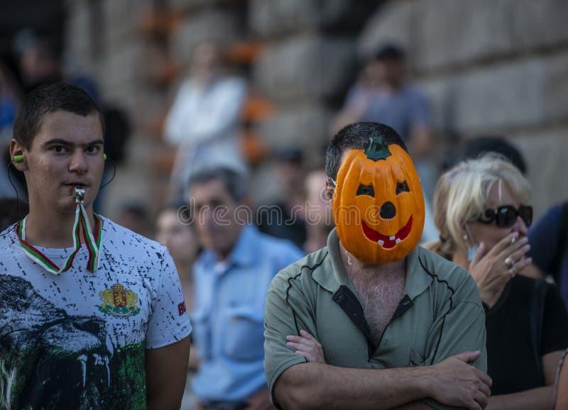 Anti-government protests in Sofia continue stock photos