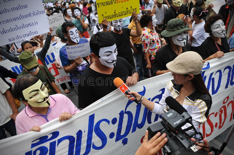 Download Anti-Government 'White Mask' Protest In Bangkok Editorial Image - Image: 31368320