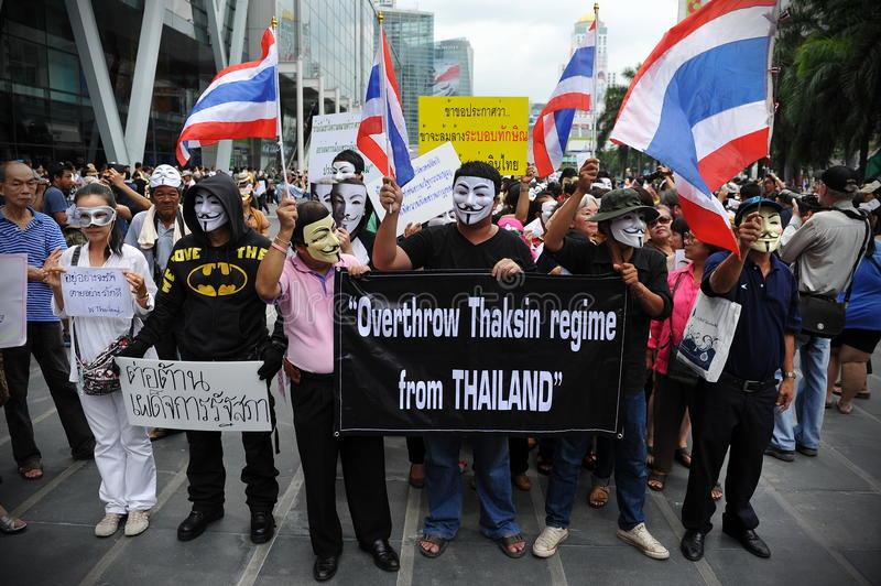 Download Anti-Government 'White Mask' Protest In Bangkok Editorial Image - Image: 31368550