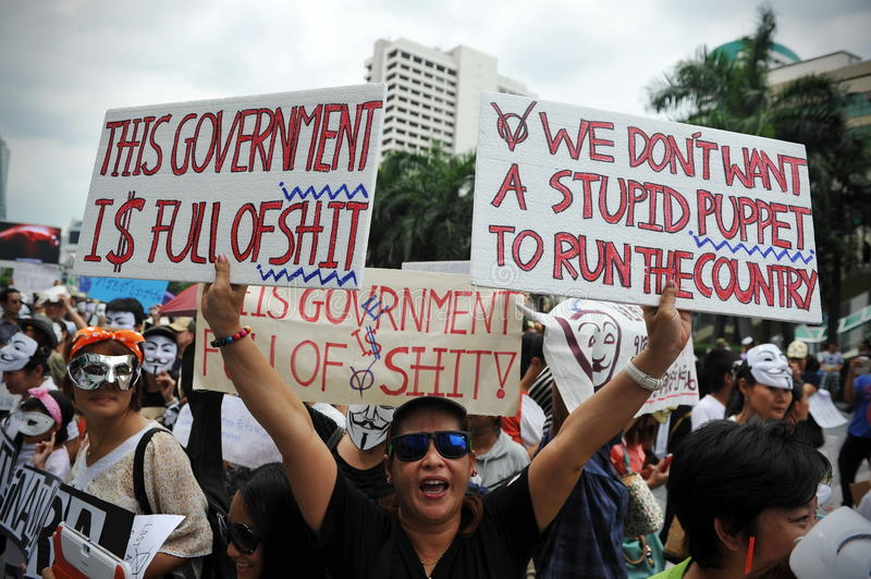 Download Anti-Government 'White Mask' Protest In Bangkok Editorial Stock Photo - Image: 31368673