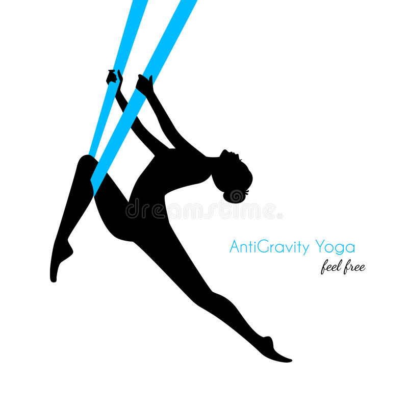 Anti--gravitation yoga poserar kvinnakonturn stock illustrationer