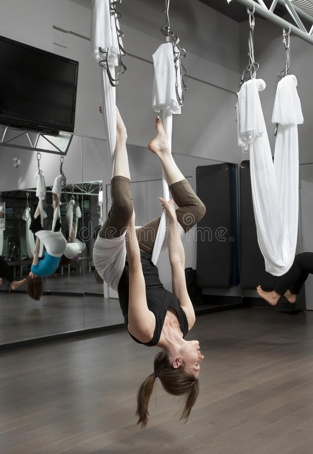 Anti-Gravity Yoga stock photo