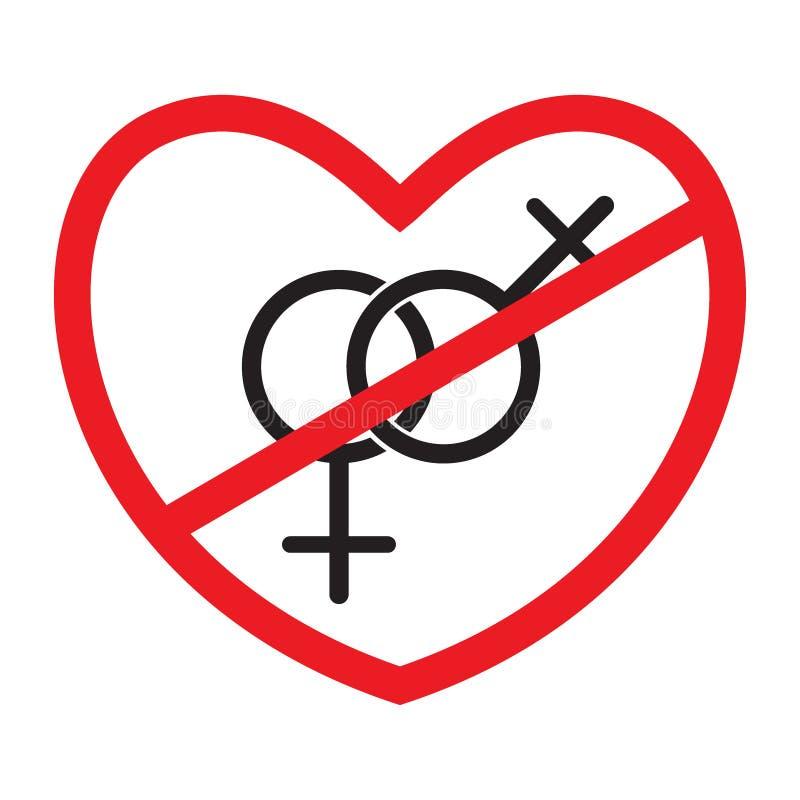 Anti-homoseksueel pictogram stock illustratie