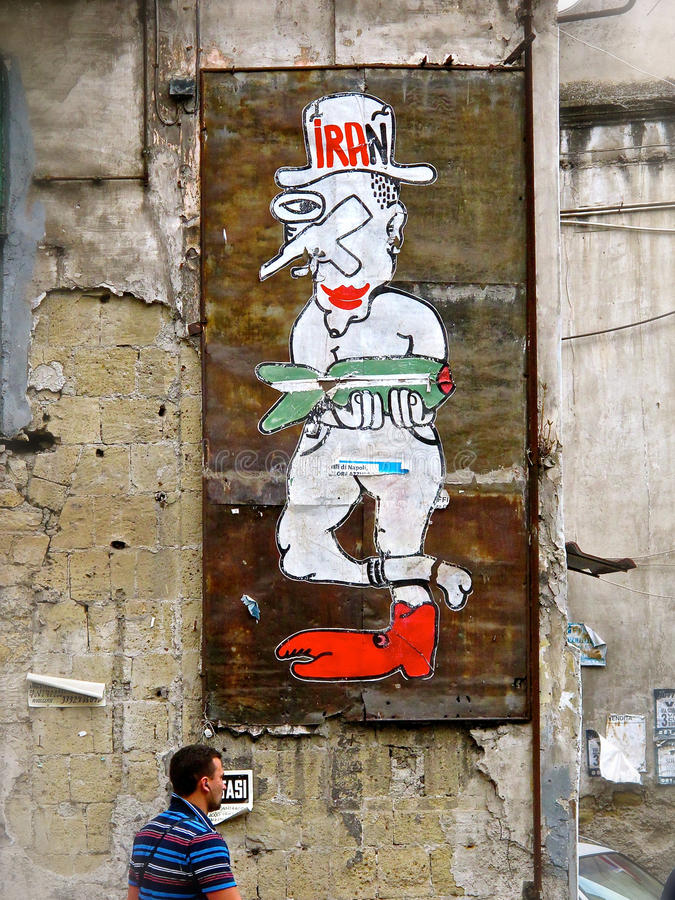 Anti-Iran Street Art Propaganda in Italy stock image