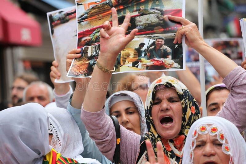Anti-Ä°sil Protest in Turkey. stock photos