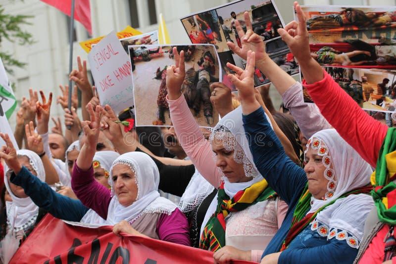 Anti-Ä°sil Protest in Turkey. royalty free stock photo