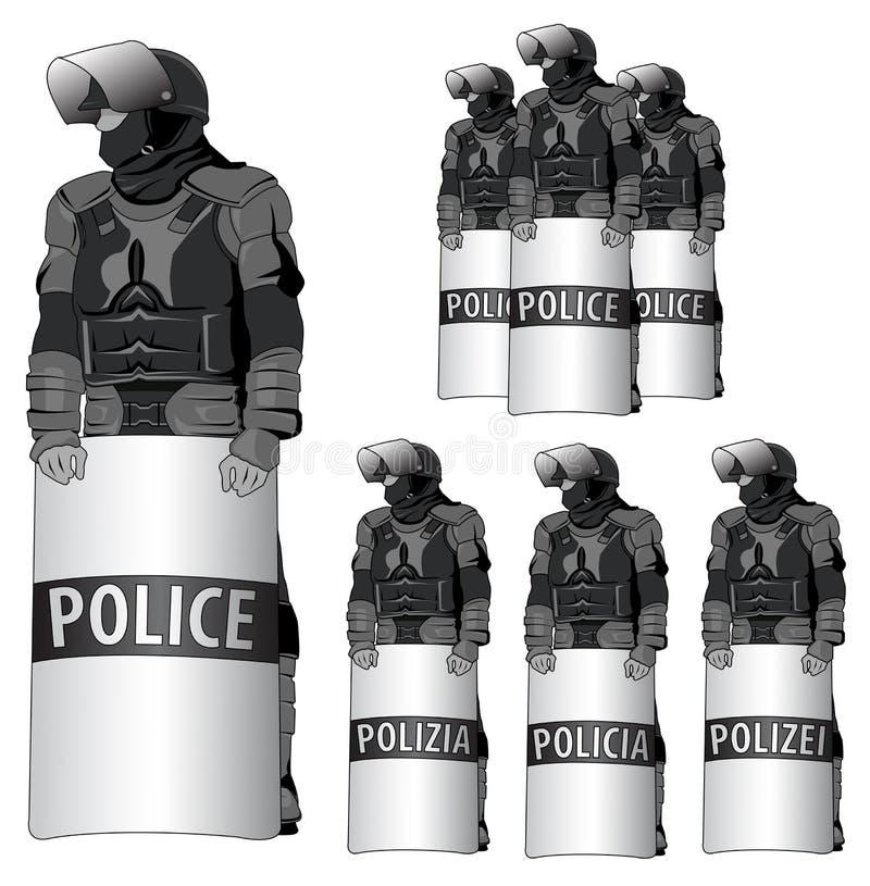 Anti-kravallpolis - vektoruppsättning  vektor illustrationer