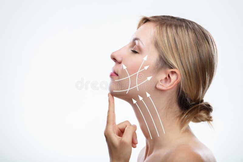 Anti-?ldras behandling- och plastikkirurgibegrepp royaltyfria bilder