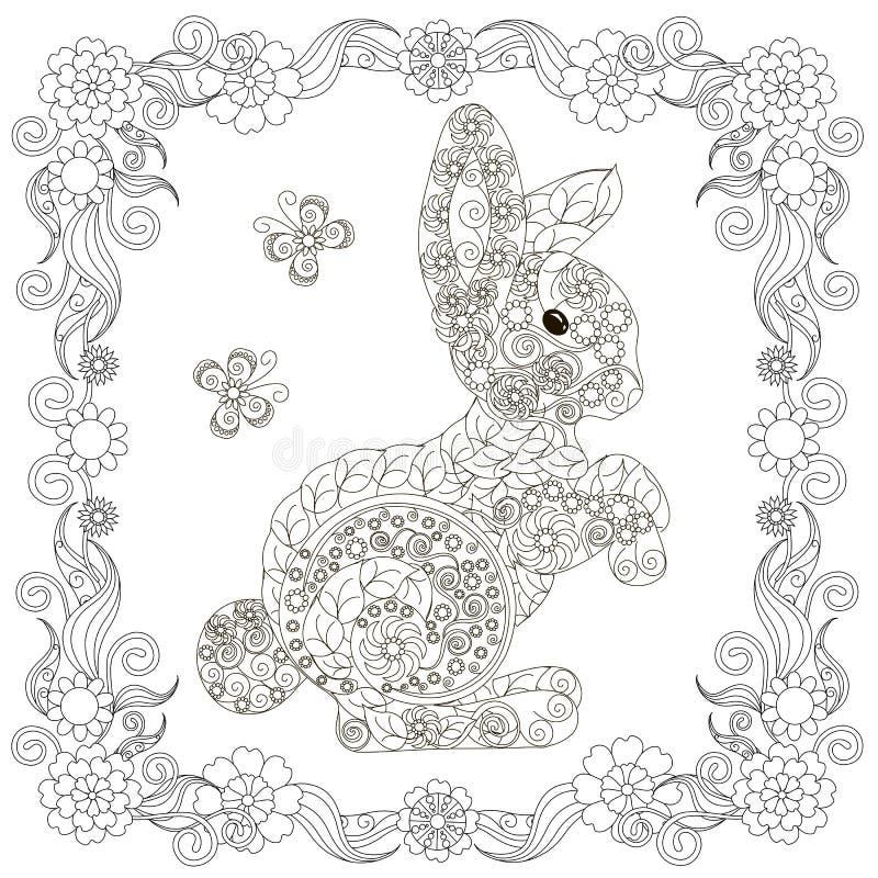 Anti lebre do sumário do esforço, borboletas, monochrome tirado mão de florescência quadrado do quadro ilustração stock