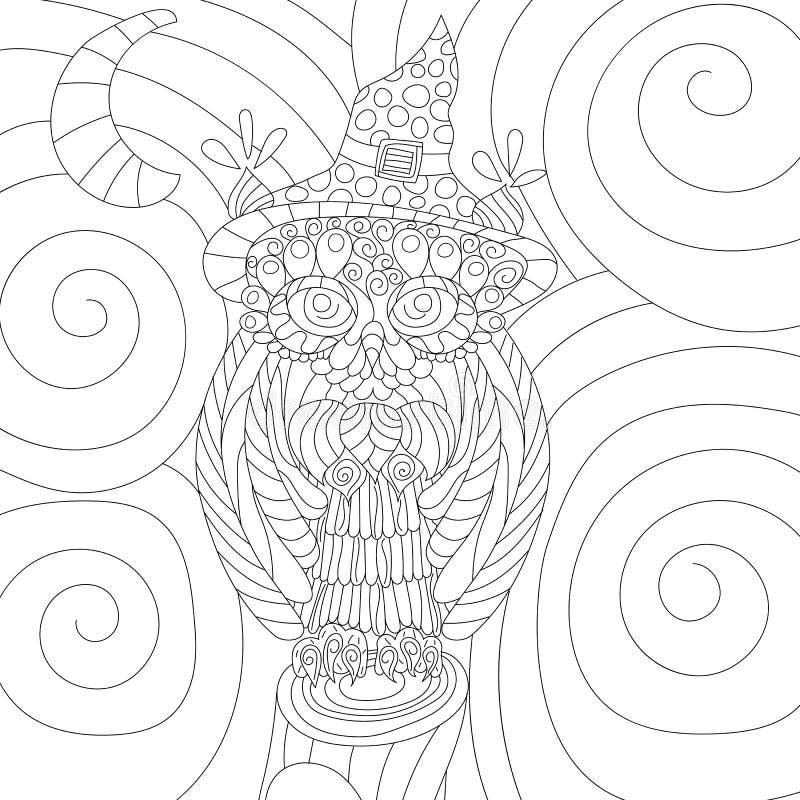 Anti libro da colorare di vettore di sforzo del gufo per l'adulto Ornamen isolati royalty illustrazione gratis
