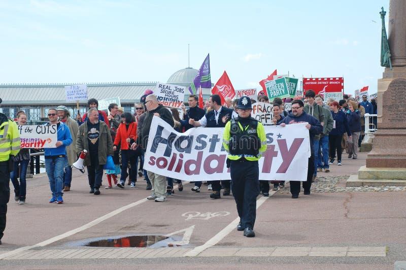 Anti marche d'austérité, Hastings photographie stock libre de droits