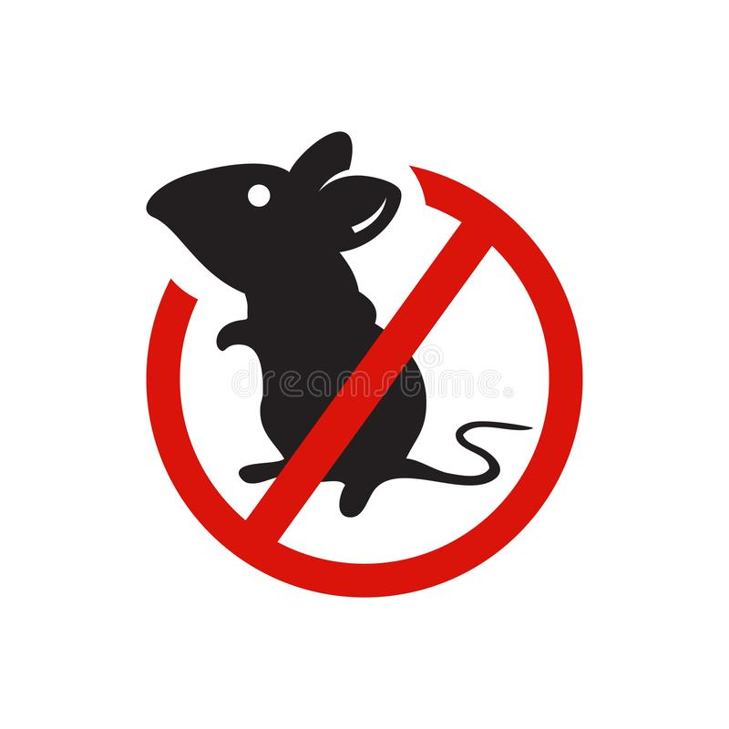 Anti-Maus-Parasit keine Ratte kein Logo-Vektordesign-Abbildung stock abbildung