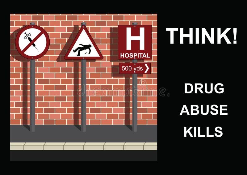 Anti message de drogue illustration de vecteur
