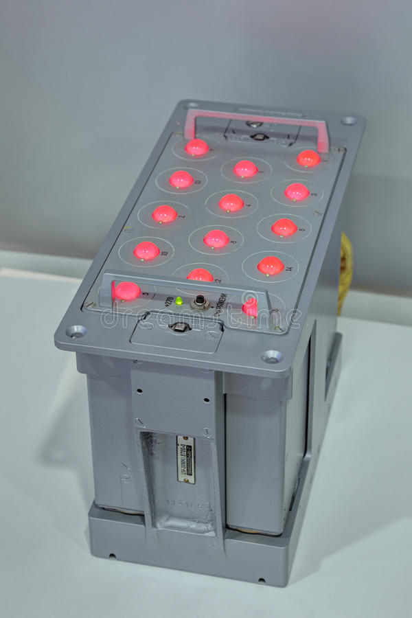 Anti-missile ejection device passive jamming. ZHUKOVSKY, MOSCOW REGION, RUSSIA - AUG 28, 2015: Aviation anti-missile ejection device passive jamming UV-30MK at stock photography