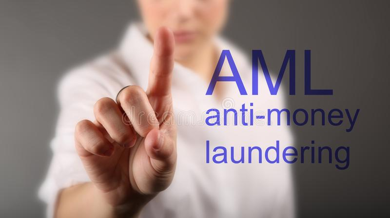 Anti Money Laundering Concept AML stock photos