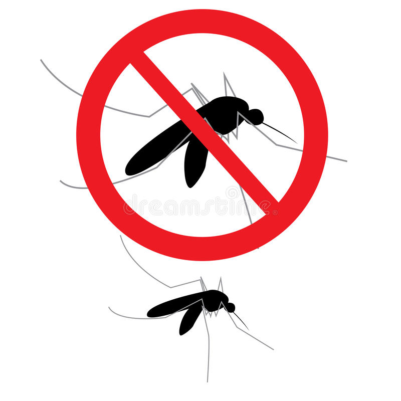 Anti mosquito sign. Vector anti mosquito sign and mosquito separated on white royalty free illustration