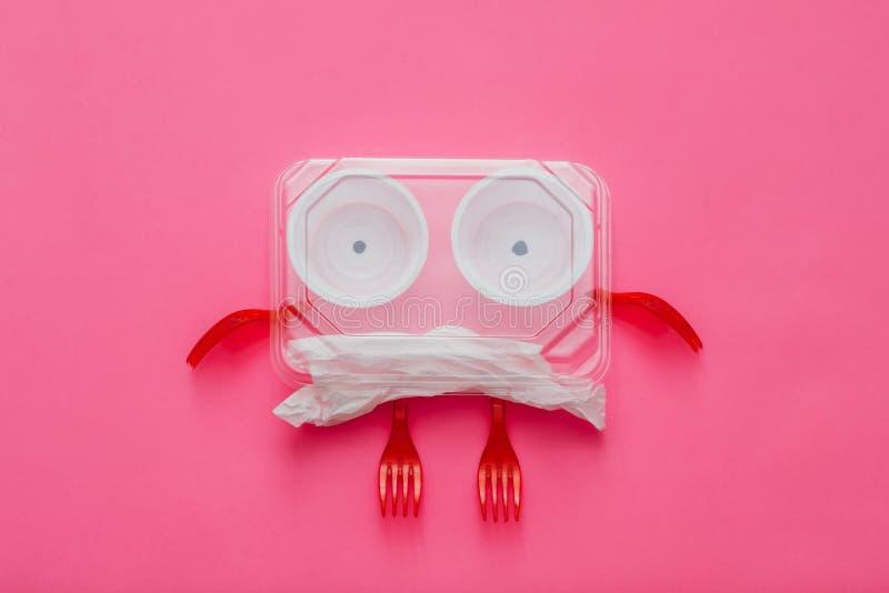Anti mostro di plastica dell'immondizia di ecologia di campagna fotografie stock libere da diritti