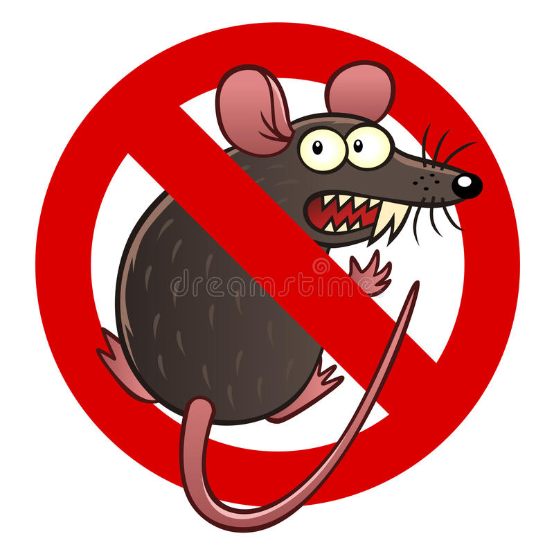 Anti mouse sign. Anti pest sign with a funny cartoon mouse stock illustration