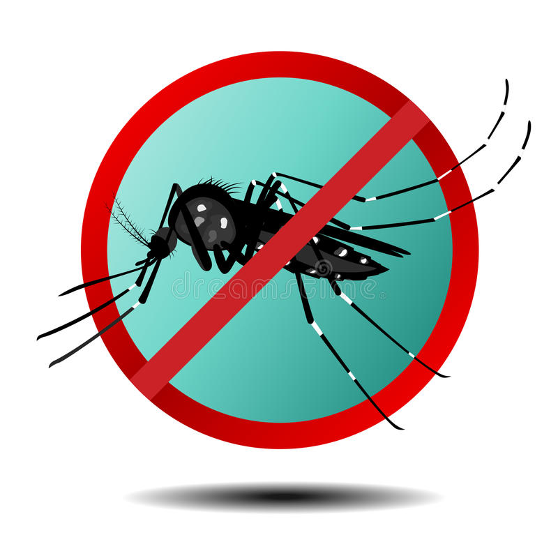 Anti-myggatecken, plan symbol stock illustrationer