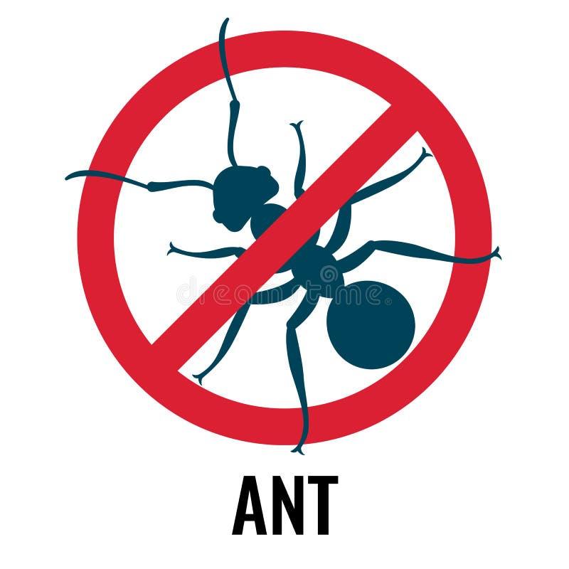 Anti--myra emblem med felet som förläggas i cirkelvektorillustration royaltyfri illustrationer