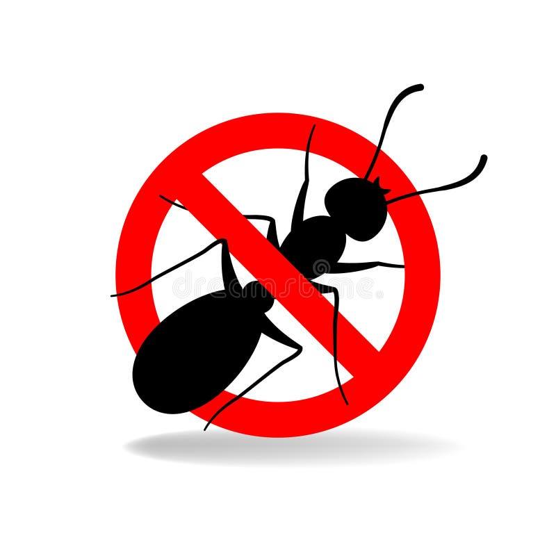 Anti-myra inget myravektortecken vektor illustrationer