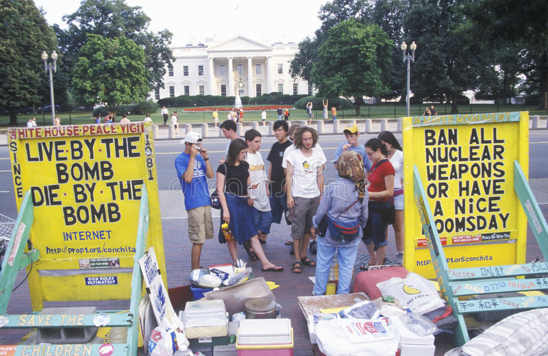 Anti-Nuclear Protest. In front of The White House, Washington, D.C stock photography