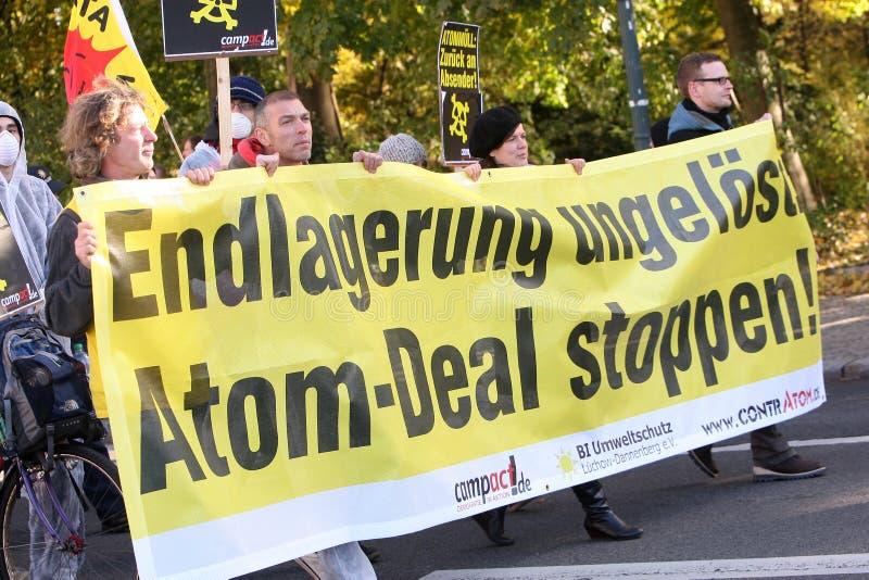Anti nuclear waste manifestation royalty free stock photography