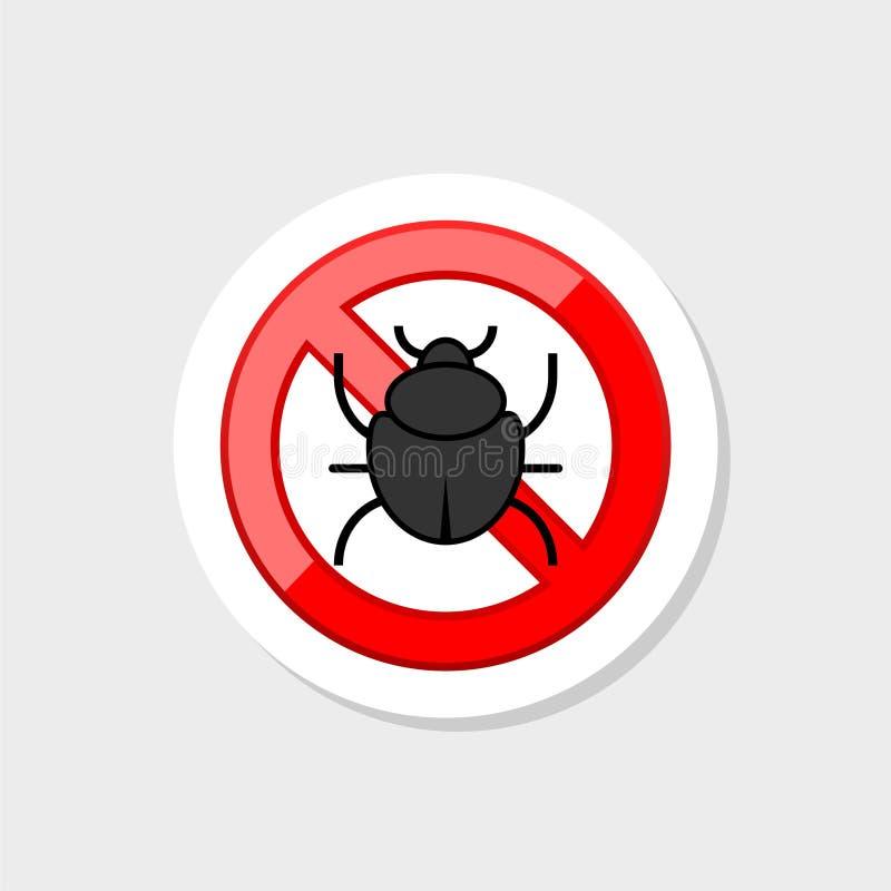 Anti-plågaklistermärkesymbol med krypkonturn R?tt tecken f?r f?rbudskalbaggevarning stock illustrationer