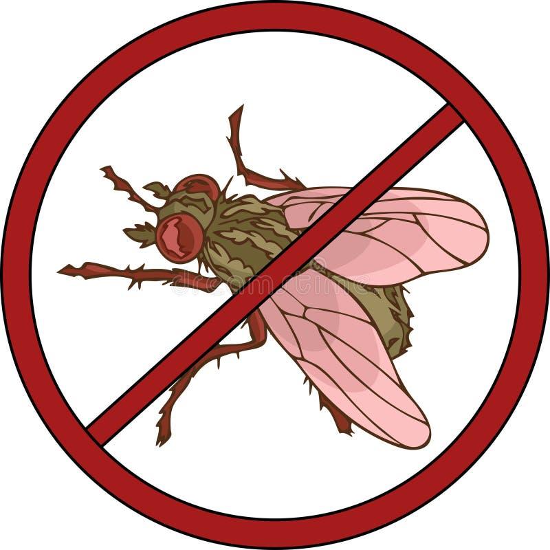 Anti-plågatecken med en fluga royaltyfri illustrationer