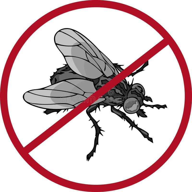 Anti-plågatecken med en realistisk fluga royaltyfri illustrationer