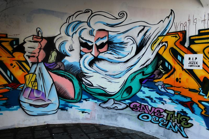 Colour graffiti promoting enviromental issues Olomouc Czech republic. Anti - pollution street art - view of colourful graffiti promoting environmental issues stock image