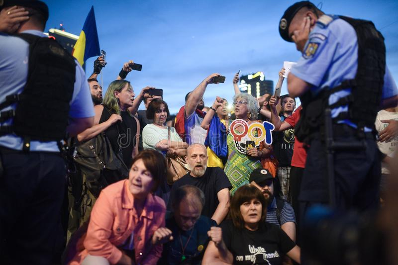Anti protesta della corte della cima del ` s della Romania, Bucarest, Romania - 30 maggio 20 immagini stock libere da diritti
