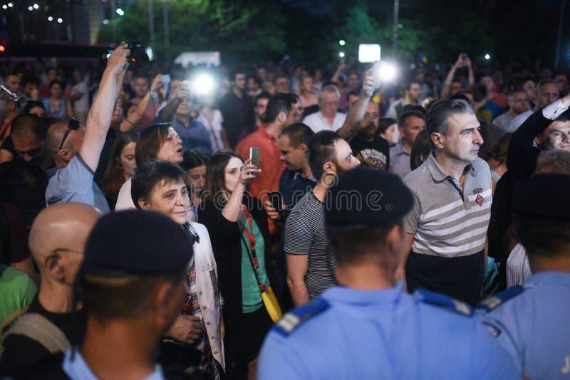 Anti protesta della corte della cima del ` s della Romania, Bucarest, Romania - 30 maggio 20 fotografie stock
