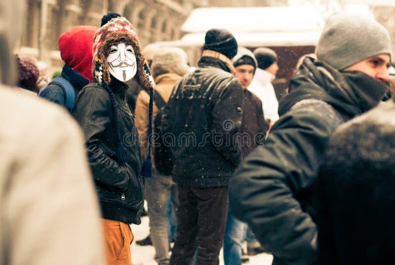 Anti protesta di acta a Bucarest immagine stock libera da diritti