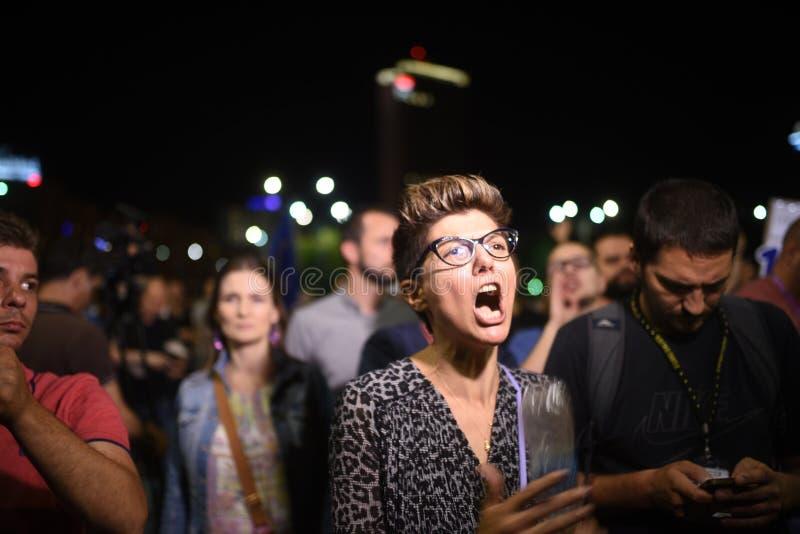 Anti protestation de cour de dessus du ` s de la Roumanie, Bucarest, Roumanie - 30 mai 20 image stock