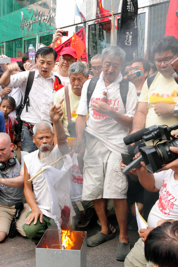 Anti protestations du Japon à Hong Kong photo stock